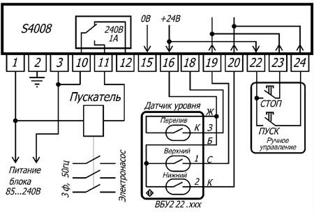 Схема подключения блока управления насосом S4008.
